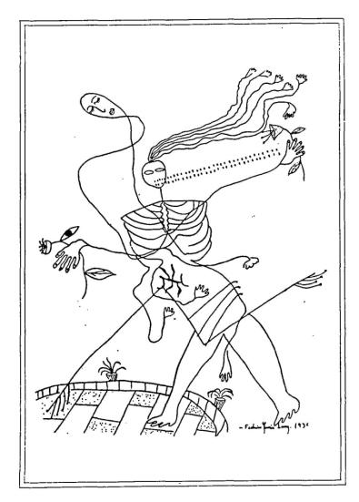 ড্রয়িং - ফেদেরিকো গার্সিয়া লোরকা ; প্রাপ্তিসূত্র - http://www.printmag.com/illustration/the-visual-art-and-design-of-famous-writers/