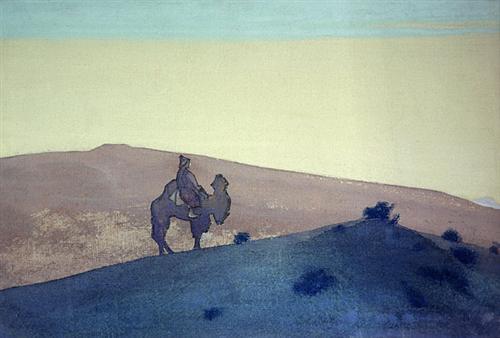 'নিঃসঙ্গ আগন্তুক' - নিকোলাস রোয়েরিক, ১৯৩১ ; প্রাপ্তিসূত্র - http://www.wikiart.org/en/nicholas-roerich/lonely-stranger-1931-1