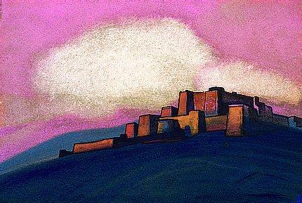 'গুলাবী আকাশ' - নিকোলাস রোয়েরিক, ১৯৩৩ ; প্রাপ্তিসূত্র - http://www.wikiart.org/en/nicholas-roerich/pink-sky-1933