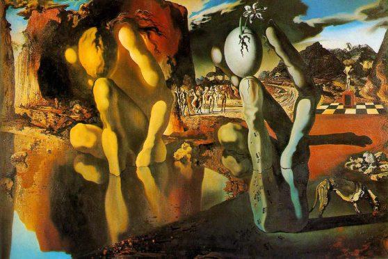 'দ্যা মেটামরফোসিস অফ নার্সিসাস' - সালভাদোর দালি, ১৯৩৭ ; প্রাপ্তিসূত্র - https://resistthis.files.wordpress.com/2010/03/salvador_dali_metamorphosis_narcissus_postcard_1.jpg