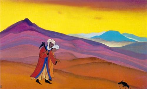 'শিরিন ও খসরু' - নিকোলাস রোয়েরিক, ১৯৩৮ ; প্রাপ্তিসূত্র - http://www.wikiart.org/en/nicholas-roerich/shirin-and-khosrau-1938