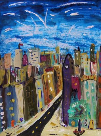 'পুরান শহরের উপ্রে দিয়া উল্কা' - মেরি ক্যারল উইলিয়ামস; প্রাপ্তিসূত্র- http://fineartamerica.com/featured/shooting-stars-over-old-city-mary-carol-williams.html