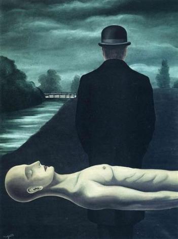 'The Musings of the Solitary Walker' - রেনে ম্যাগ্রিট, ১৯২৬ ; প্রাপ্তিসূত্র - http://www.wikiart.org/en/rene-magritte/the-musings-of-the-solitary-walker-1926