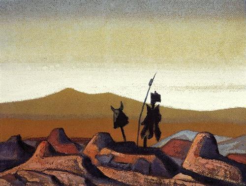 'মরুর কবর' - নিকোলাস রোয়েরিক, ১৯৩০ ; প্রাপ্তিসূত্র - http://www.wikiart.org/en/nicholas-roerich/tombs-in-the-desert-1930