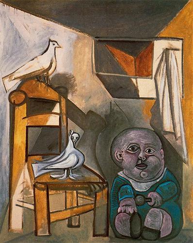 'কবুতরের লগে শিশু' - পাবলো পিকাসো ; প্রাপ্তিসূত্র - http://www.wikiart.org/en/pablo-picasso/a-child-with-pigeons-1943