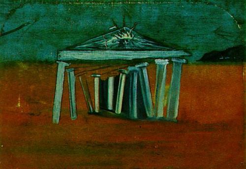 'মন্দির - সেট দিজাইনের স্কেচ' - সালভাদোর দালি, ১৯৪১ ; প্রাপ্তিসূত্র - http://www.wikiart.org/en/salvador-dali/temple-sketch-for-a-set-design