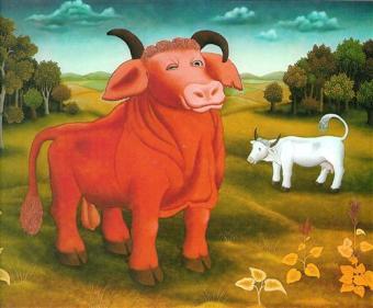 'লাল ষাঁড়' - আইভান জেনেরালিচ ; প্রাপ্তিসূত্র - http://www.wikiart.org/en/ivan-generalic/the-red-bull-1972