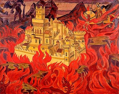 'দ্যা ভিশাস টাউন' - নিকোলাস রোয়েরিক, ১৯১৯ ; প্রাপ্তিসূত্র - http://www.wikiart.org/en/nicholas-roerich/the-vicious-town-1919