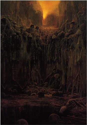 'শিরোনামহীন' - জদিস্লাভ বেকশিন্সকি ; প্রাপ্তিসূত্র - http://www.wikiart.org/en/zdislav-beksinski/untitled-35