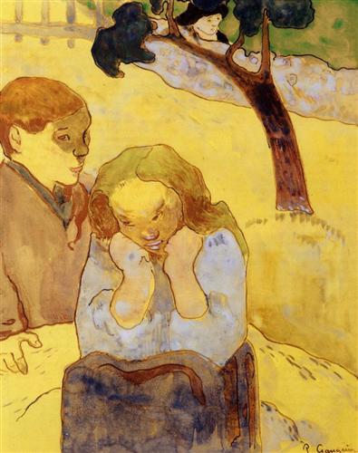 """Human Misery"" - পল গগ্যাঁ, জলরং, ১৮৮৯ ; প্রাপ্তিসূত্র - http://www.wikiart.org/en/paul-gauguin/human-misery-1889"