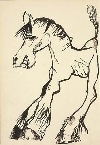 শিল্পী - লুসিয়ান ফ্রয়েড ; প্রাপ্তিসূত্র - http://www.wikiart.org/en/lucian-freud/horse-smiling