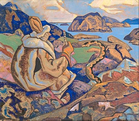 শিল্পী - নিকোলাস রোয়েরিক ; প্রাপ্তিসূত্র - http://www.wikiart.org/en/nicholas-roerich/snakes-facing-whisperer-a-serpent-1917