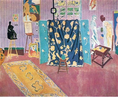 'গুলাবী স্টুডিও' - অঁরি মাতিস ; প্রাপ্তিসূত্র - http://www.wikiart.org/en/henri-matisse/the-pink-studio-1911